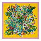 Tropical Bouquet Silk Twill Scarf - Yellow