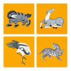 Set of 4 Mythical Animals Cotton Coasters - Yellow