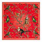 Birds and Monkeys Silk Twill Scarf - Red