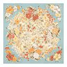Floral Printed Silk Jacquard Scarf - Light Blue
