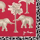 Wild Elephants Silk Napkin - Red