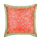 "Floral with Elephant Border Silk Cushion Cover 18"" - Orange"