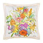 "Flower Bouquet Cotton Cushion Cover 18"" - White"