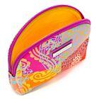 Check Paisley Small Silk Cosmetic Case - Orange/Multi