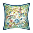 """Lovebirds Silk Cushion Cover 18"""" - Turquoise/Blue"""