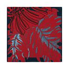 Set of 4 Big leaves Cotton Coasters - Red/Blue