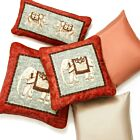 Traditional Elephant Rectangular Linen Cushion Cover - Orange