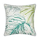 """Big Leaves Linen Cushion Cover 18"""" - White/Green"""