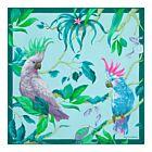 Cockatoo Silk Napkin - Sky blue