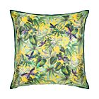 """Leaves and Butterflies Silk Cushion Cover 18"""" - Green/Yellow"""