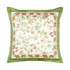 """Floral with Elephant Border Cotton Cushion Cover 18"""" - Cream"""