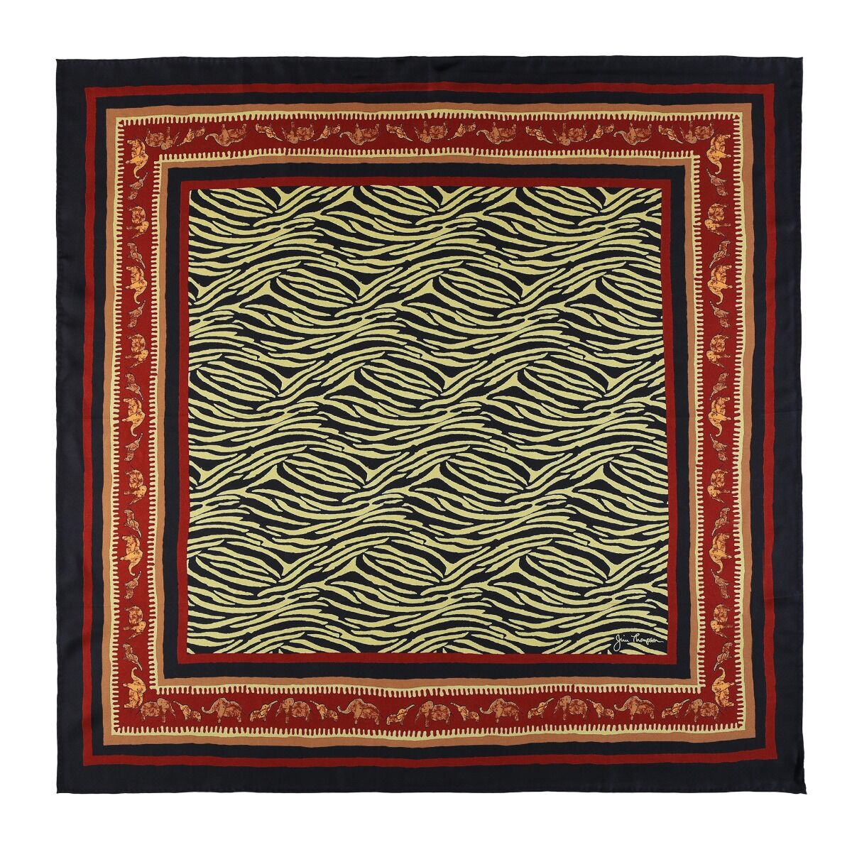Elephant and Basket Weave Silk Twill Scarf - Red/Black