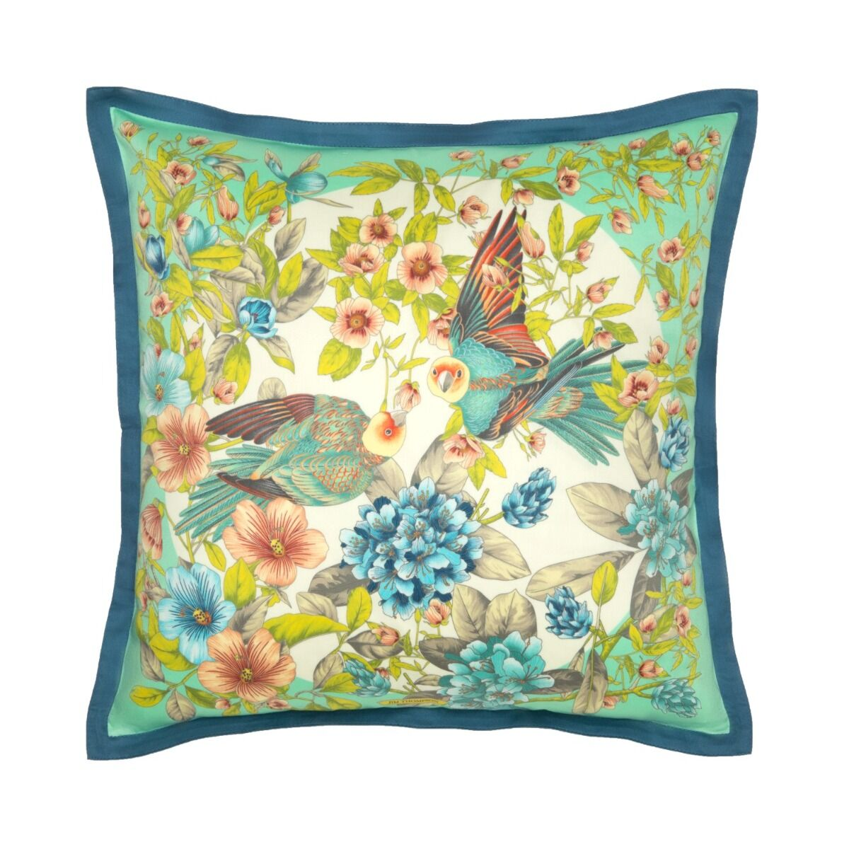 """Lovebirds Cotton Cushion Cover 18"""" - Turquoise/Blue"""