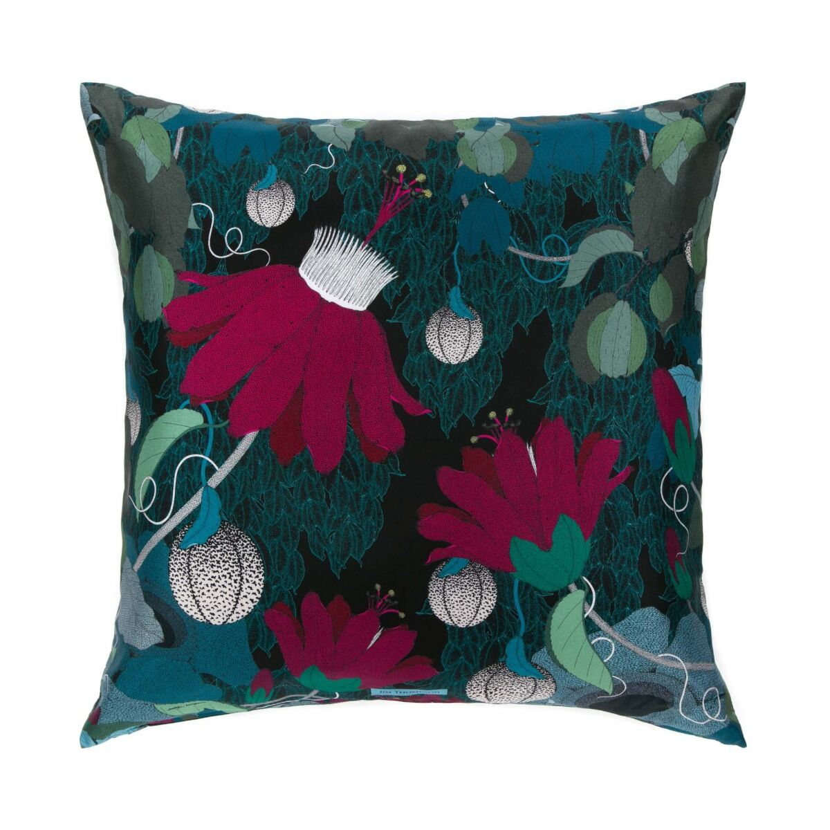 """Wild Flowers Silk Cushion Cover 18"""" - Red"""