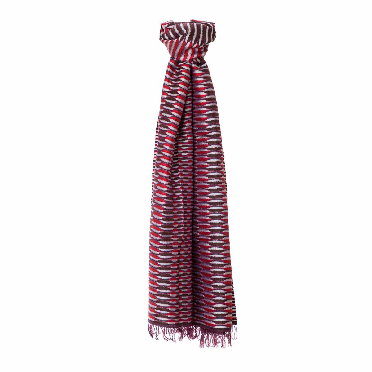 Rice Terraces Handwoven Silk Scarf - Red/Brown