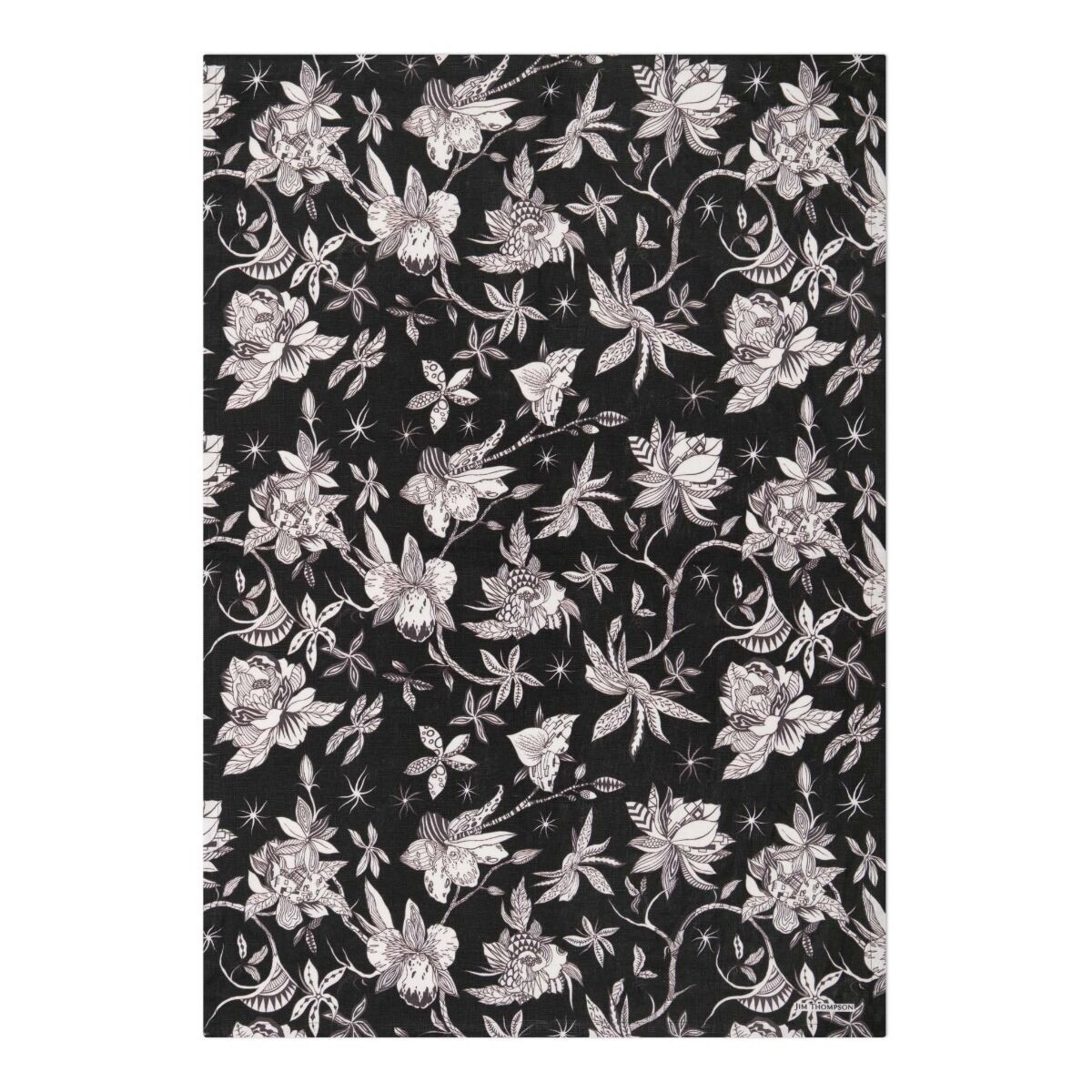 Orchid and Spike Tea Towel - Black