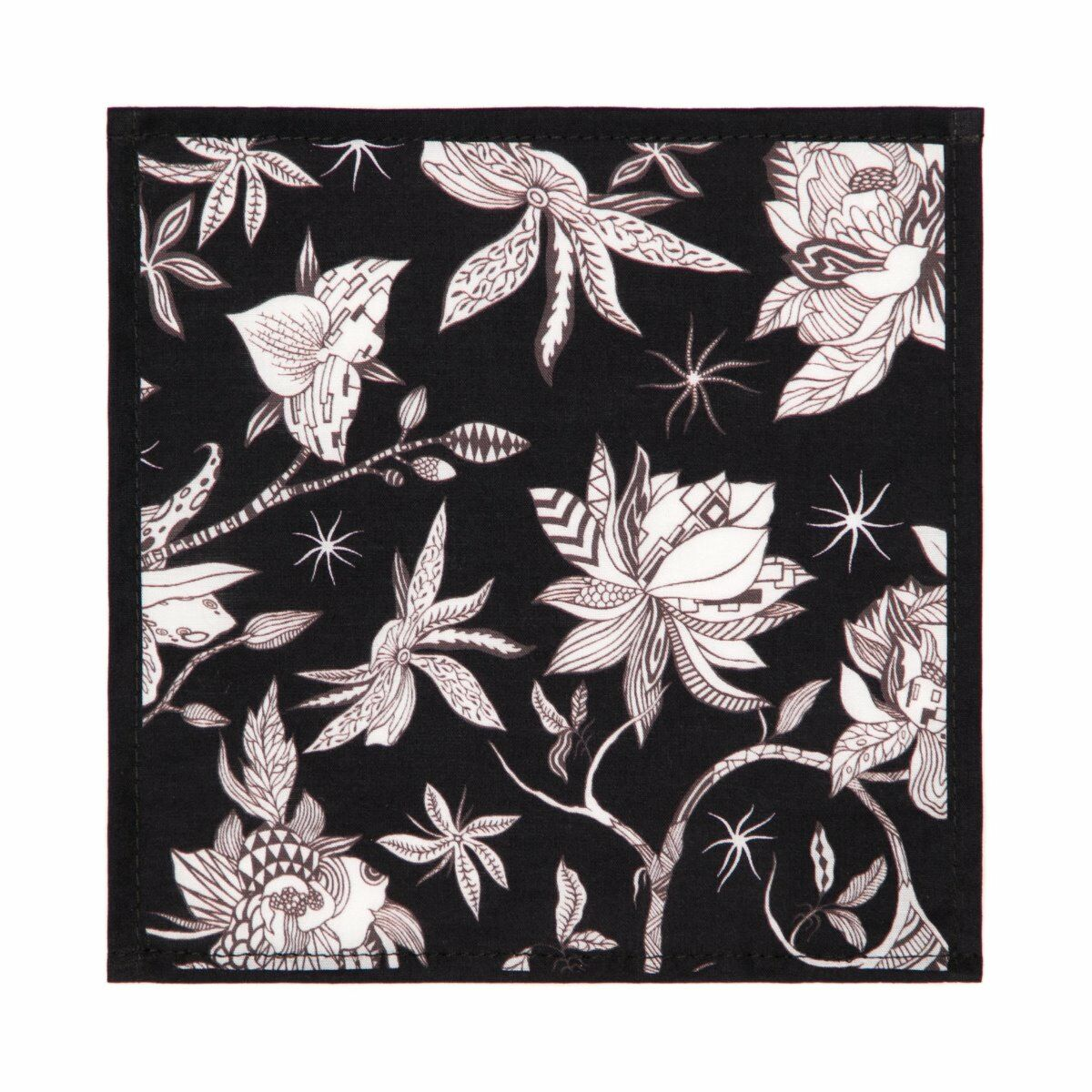 Orchid and Spike Cotton Cocktail Napkin Set - Black