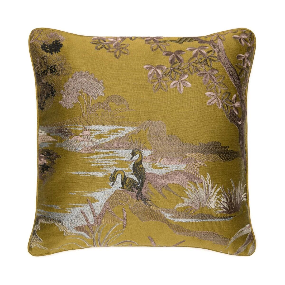 """Himmapan Forest Cushion Cover 18"""" - Gold Green"""