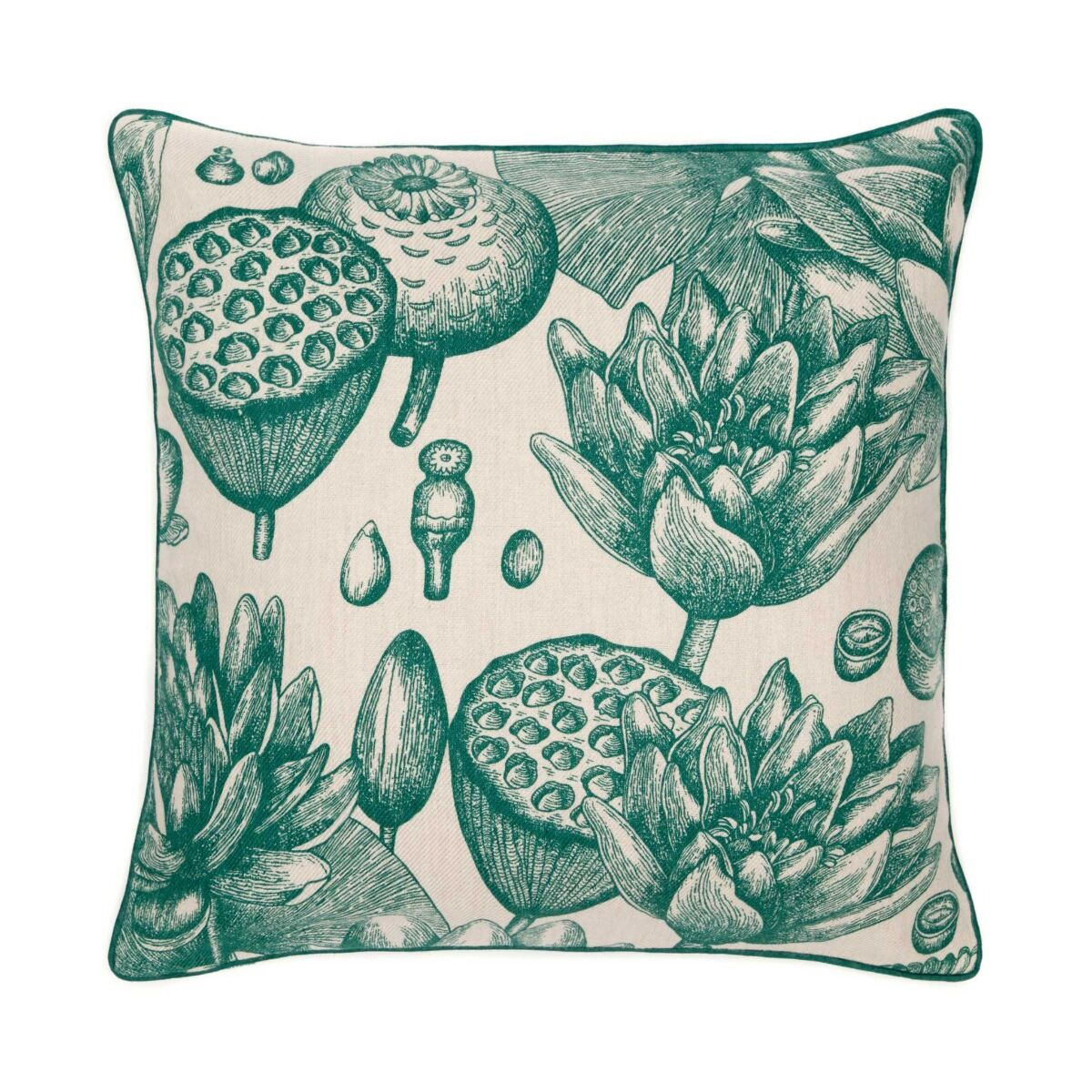 """Water Lily Cushion Cover 18"""" - Turquoise"""