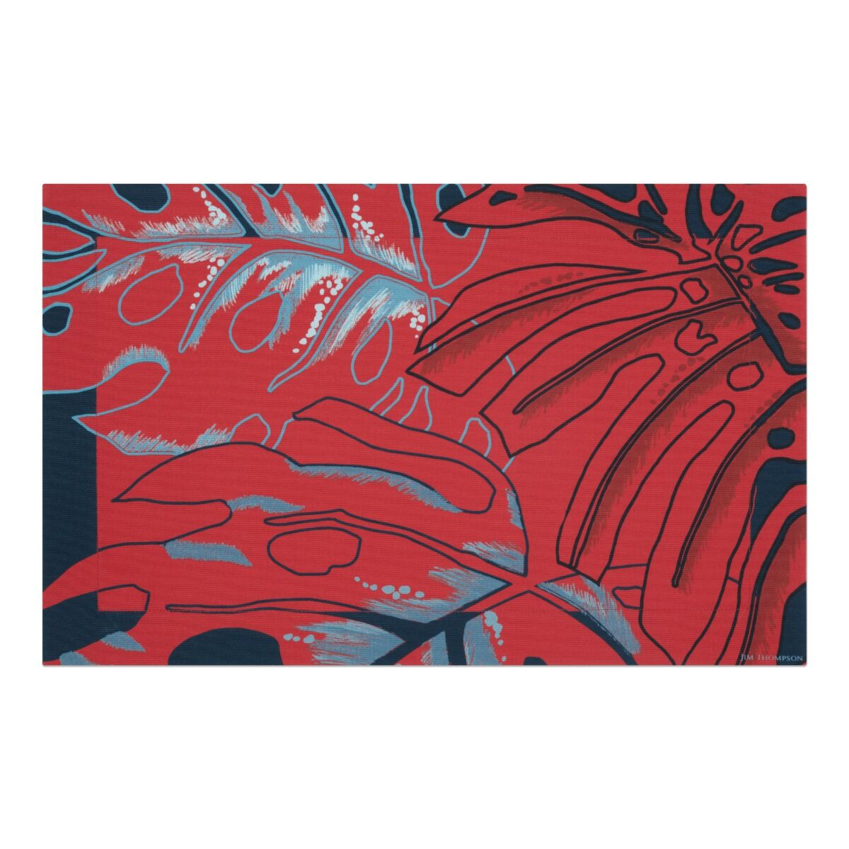 Big Leaves Cotton Placemat - Red/Blue