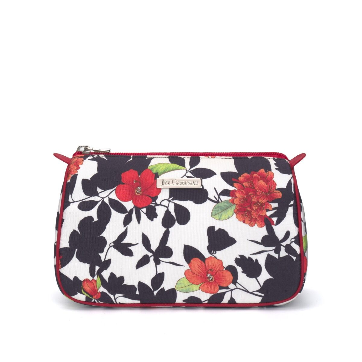 Floral Mini Silk Travel Pouch - Red