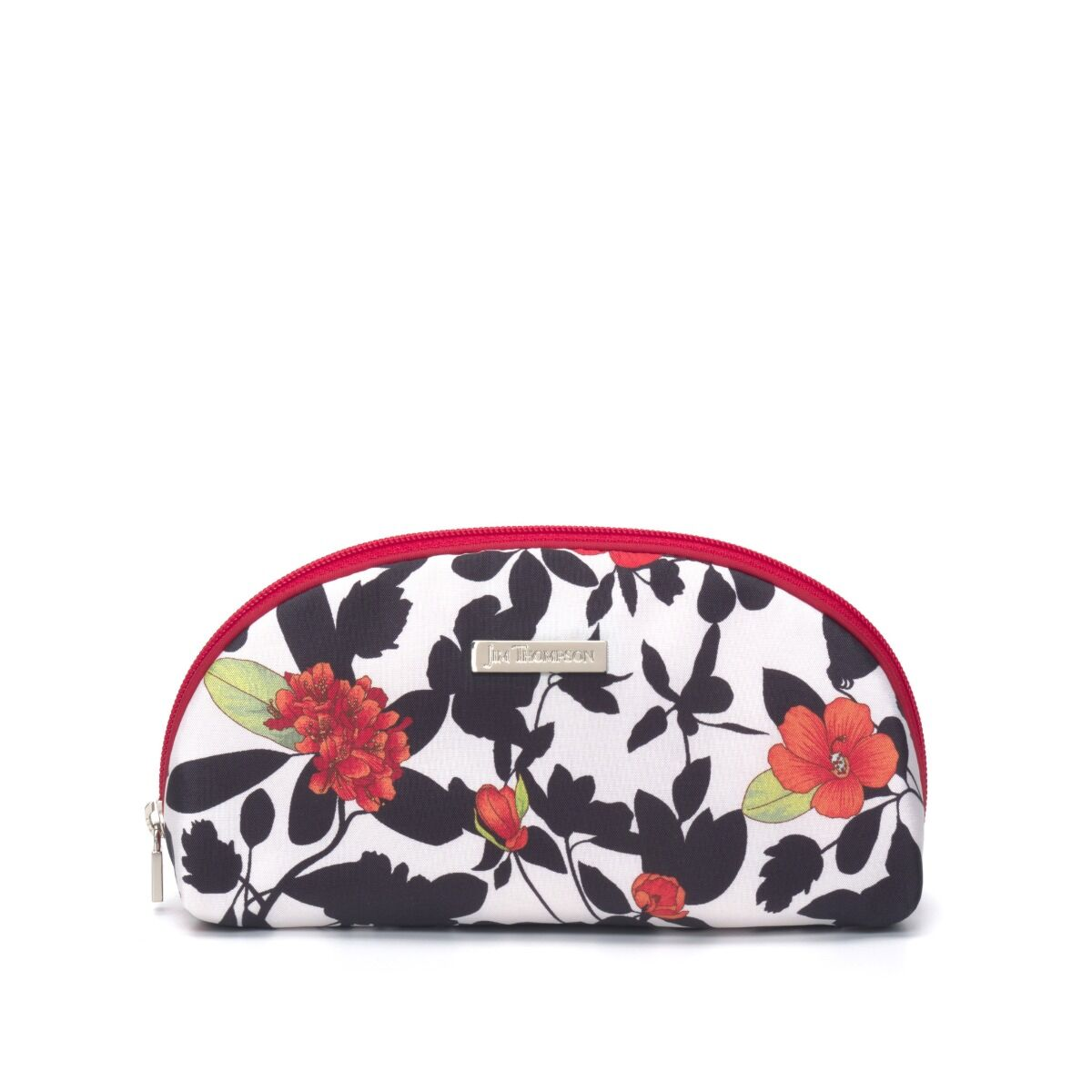 Floral  Large Silk Cosmetic Case - Red