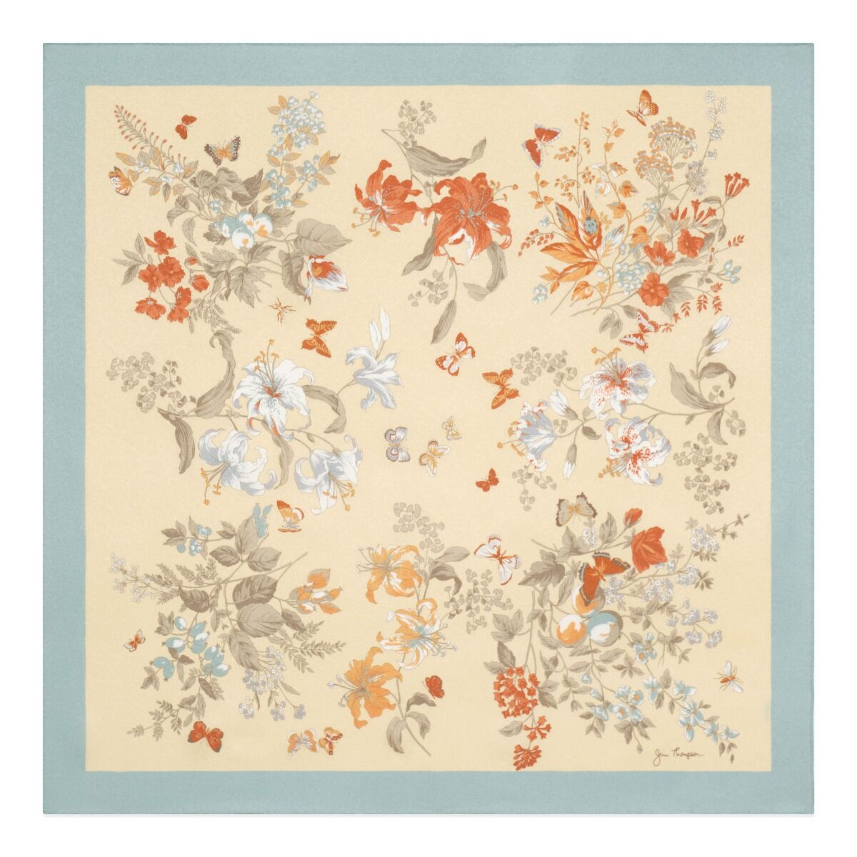 Floral and Butterflies Silk Jacquard Scarf - Blue/Cream
