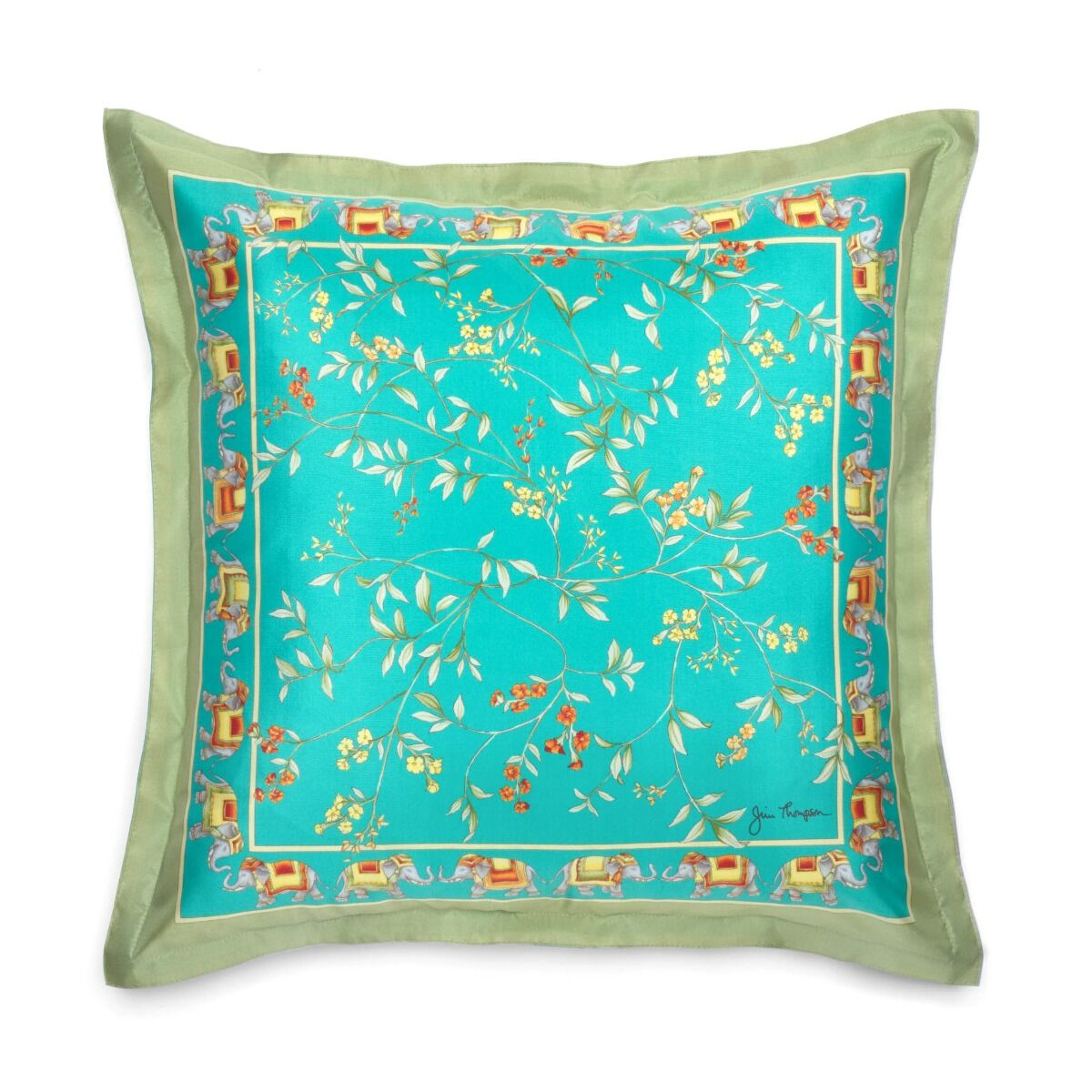 """Floral with Elephant Border Silk Cushion Cover 18"""" - Turquoise"""