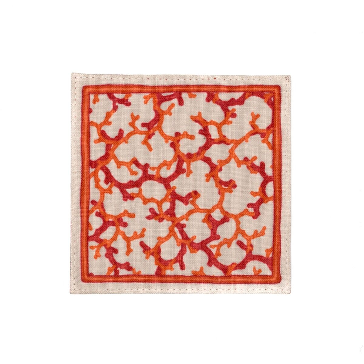 Set of 4 Coral Linen Coasters - Red