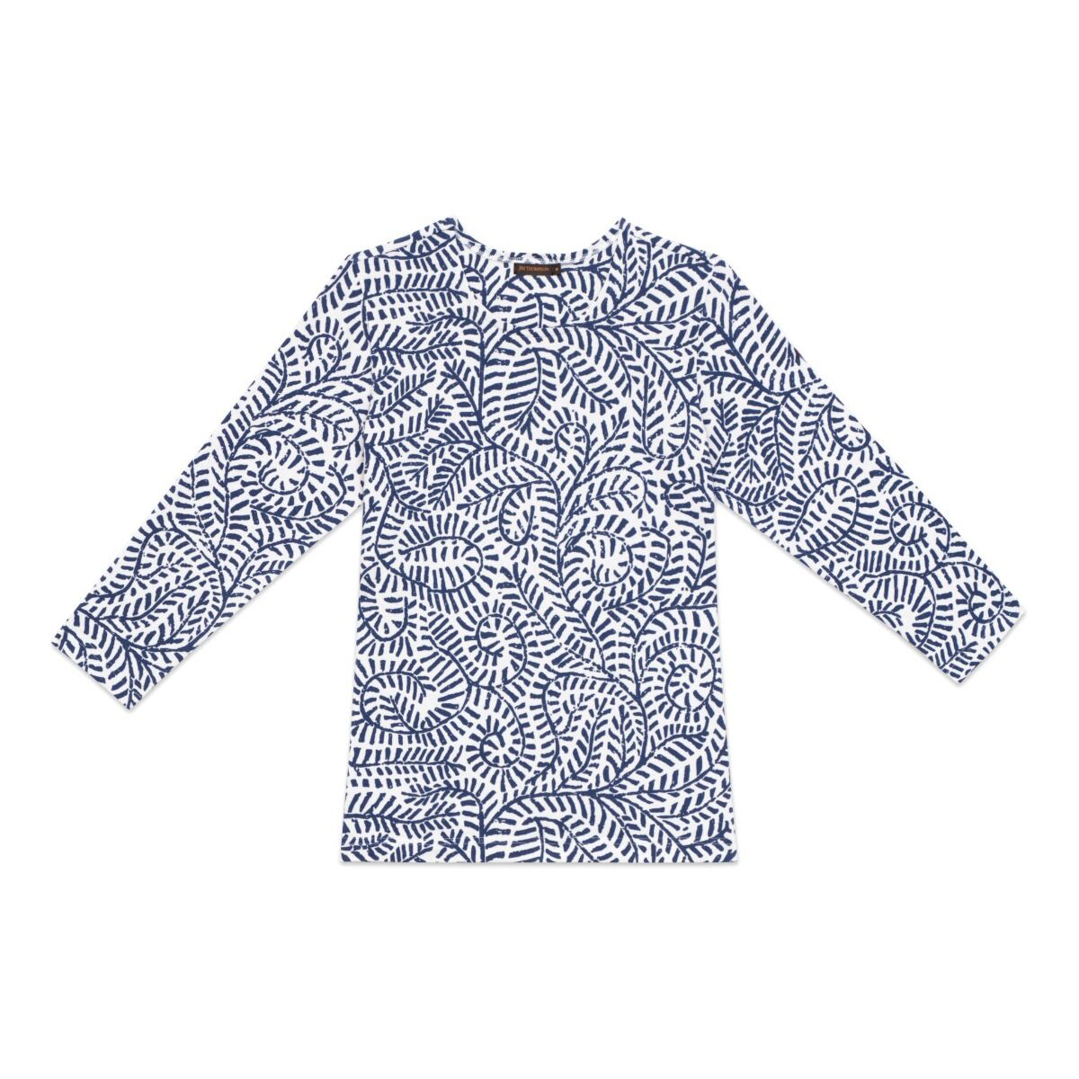 Dashed Line Leaves Long Sleeve Cotton T-shirt - White/Blue