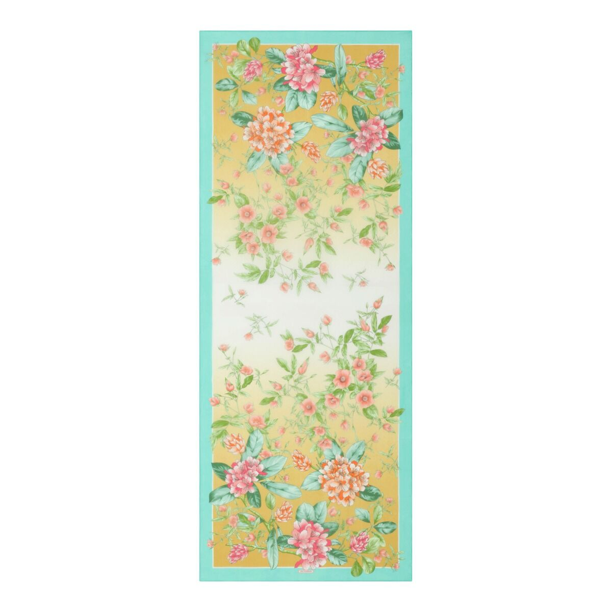 Floral Chiffon Stole - Turquoise/Yellow