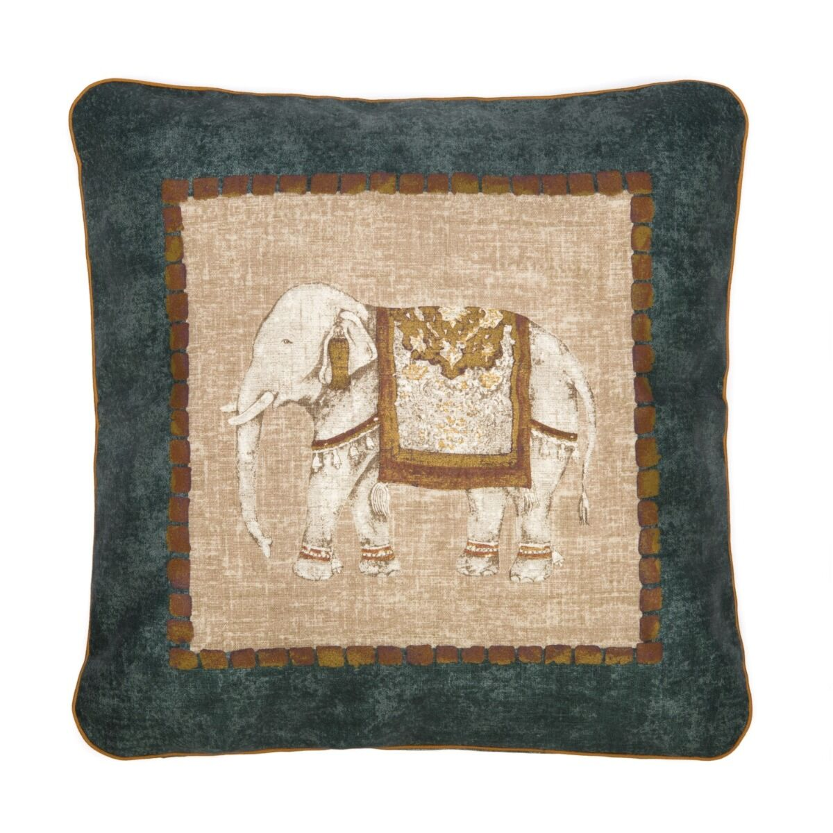 """Traditional Elephant 18"""" Linen Cushion Cover - Green"""