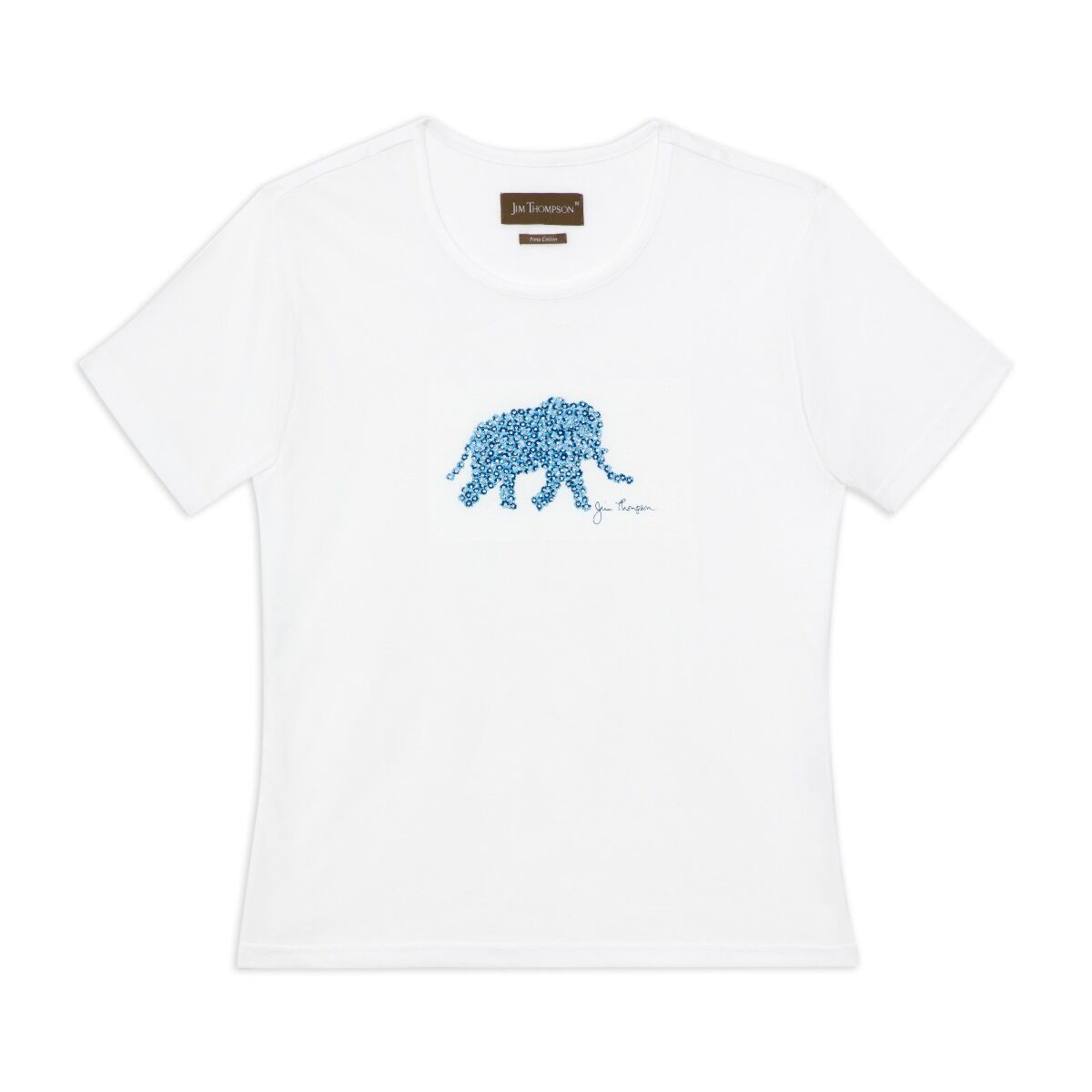 Crystal Floral Elephant Cotton T-shirt - White/Blue
