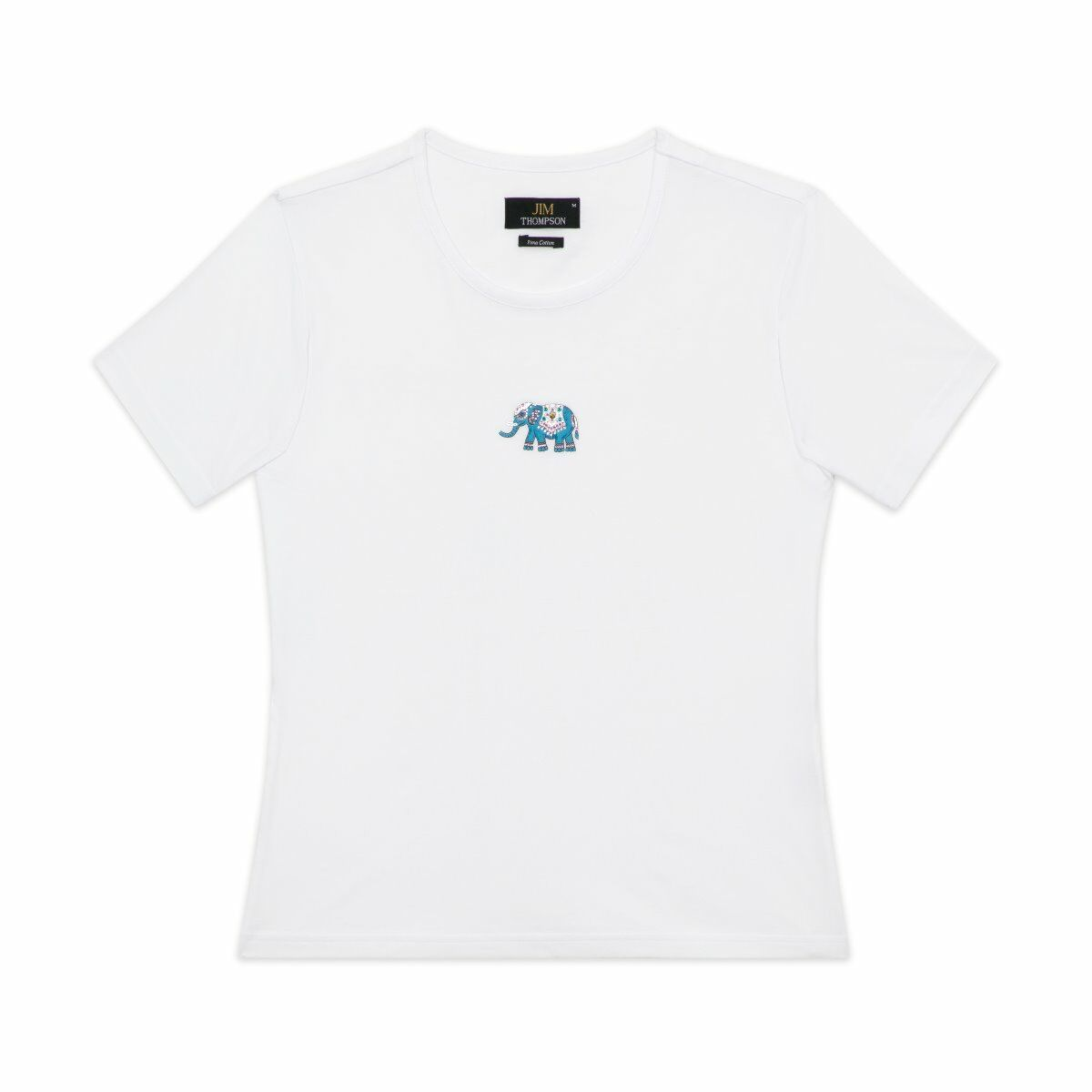 Crystal Traditional Elephant Cotton T-shirt - White