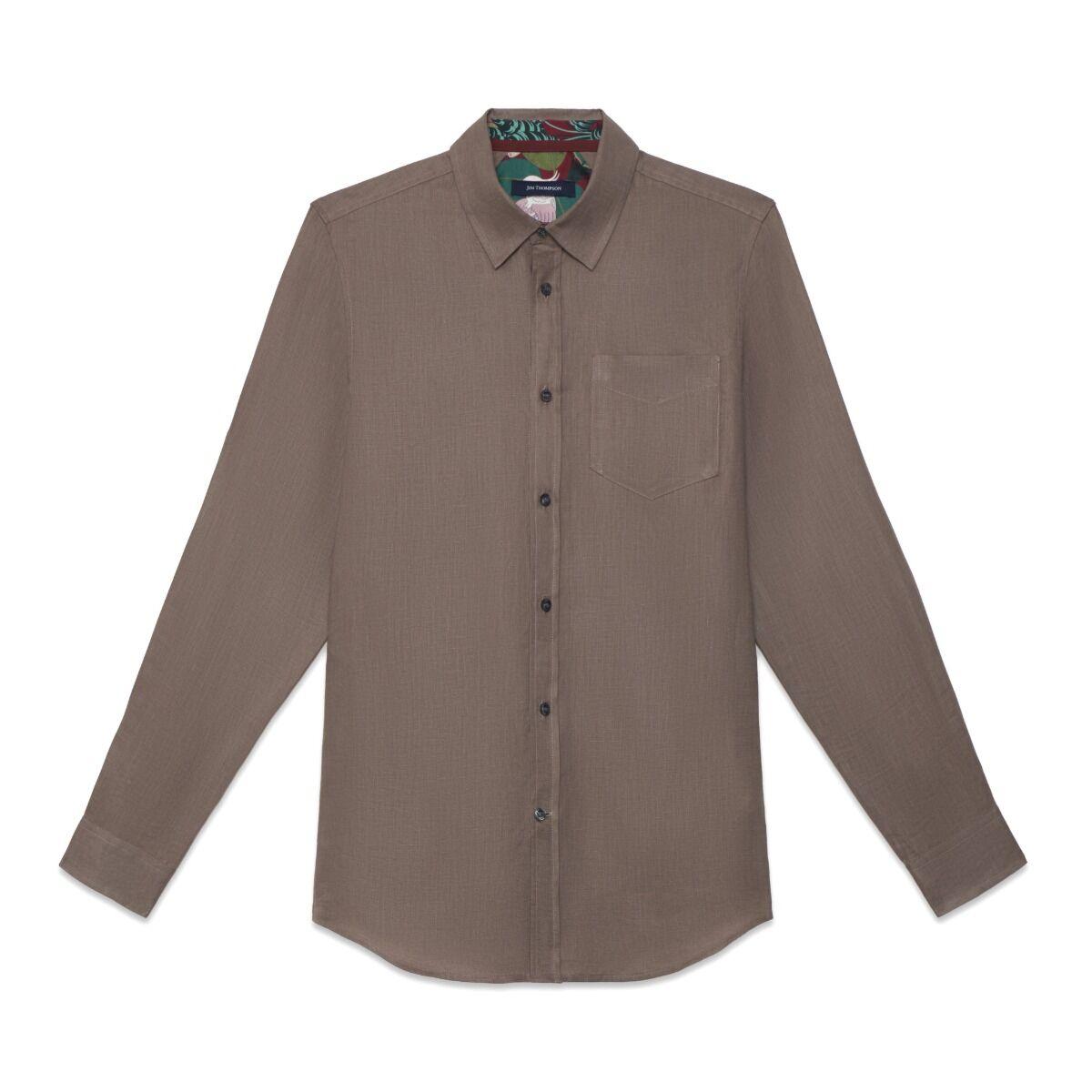 Solid Linen Shirt - Khaki