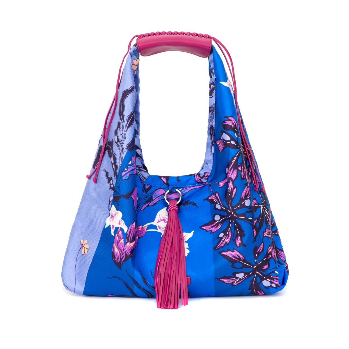 Passion Fruit Small Silk Twill Hobo Bag - Blue