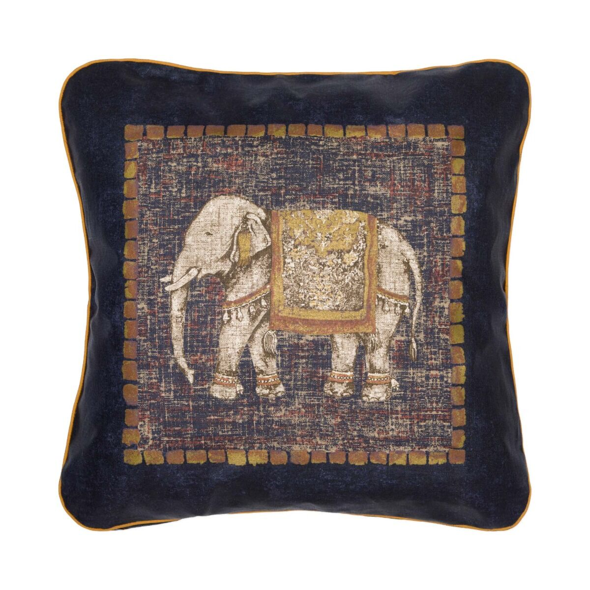 """Traditional Elephant 18"""" Linen Cushion Cover - Navy"""
