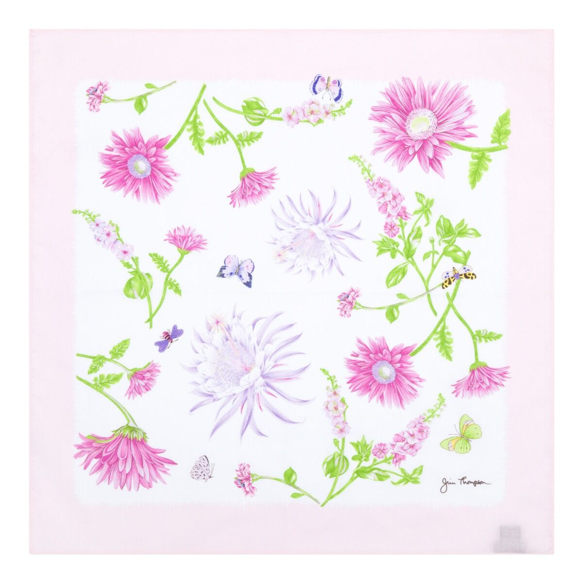 Floral and Butterflies Cotton Napkin - Baby Pink/White