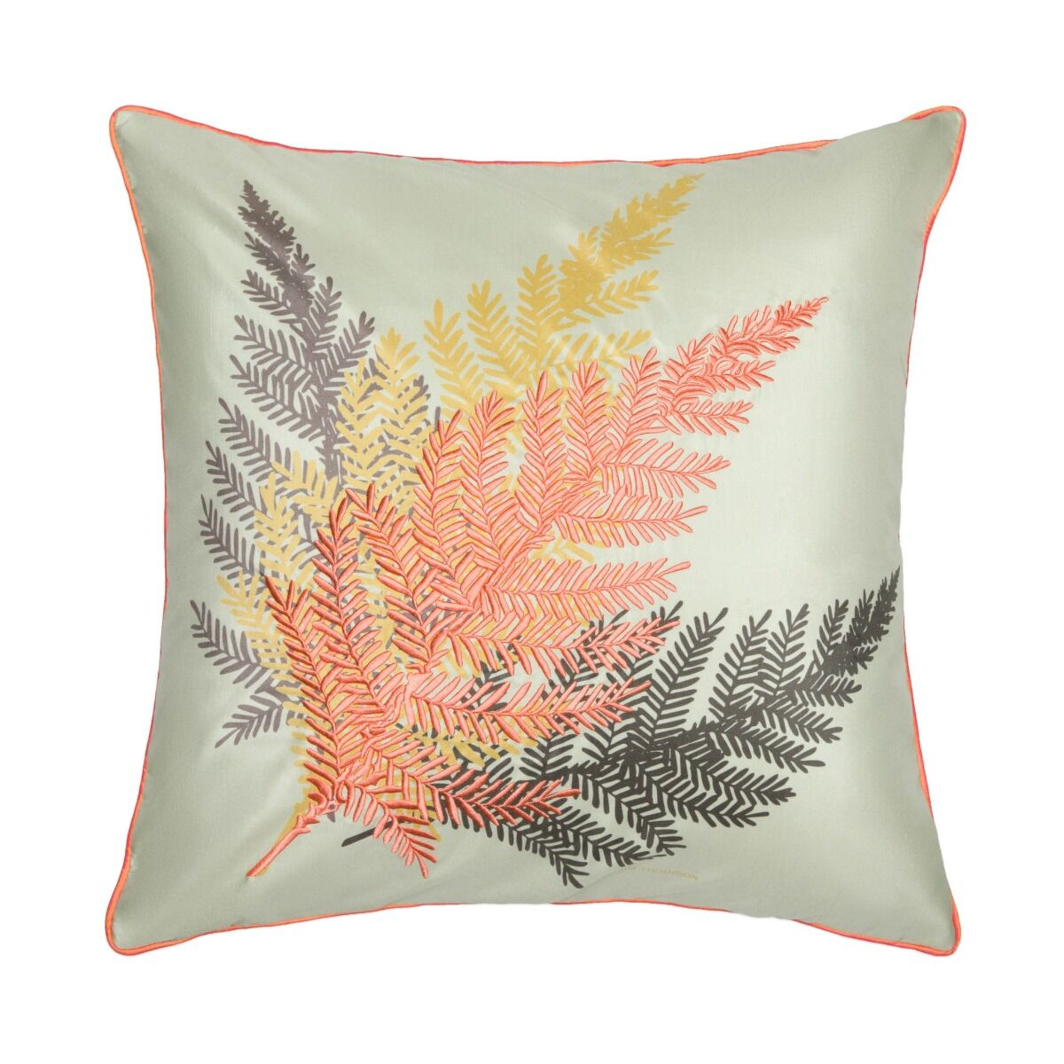 """Fernism Embroidered Silk Cushion Cover 18"""" -  White/Mint Green"""