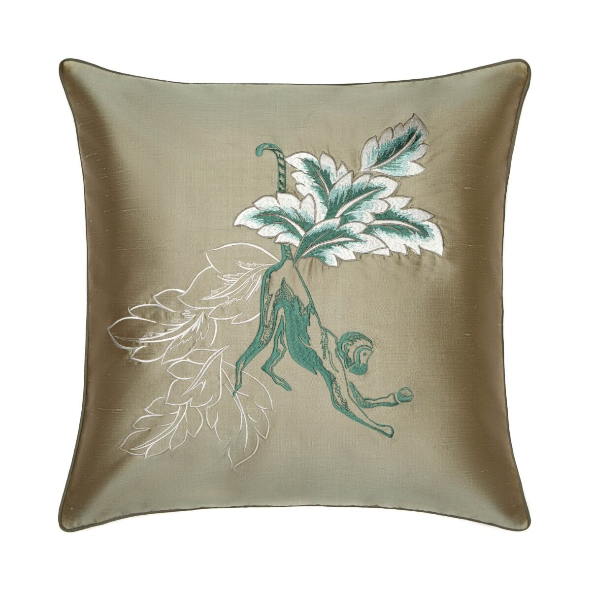 """Monkey Embroidered Silk Cushion Cover 18"""" - Grey"""